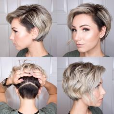 Pixie bob with shaved back to cut down on thickness. | Not a fan of the shave sides, though. Hairstyles Men, Different Hairstyles, Bob Hairstyles For Fine Hair, Hairstyle Short, Hairstyle Ideas, Popular Hairstyles, Short Hair Back, Chic Short Hair, Very Short Hair