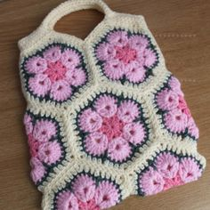 Pink and Cream Crochet African Flower Bag by girlybunches on Etsy, $32.00