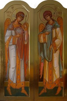 The Holy Archangels Michael and Gabriel. Religious Images, Religious Icons, Religious Art, Roman Church, Catholic Religion, Early Christian, Archangel Michael, Orthodox Icons, Cherub