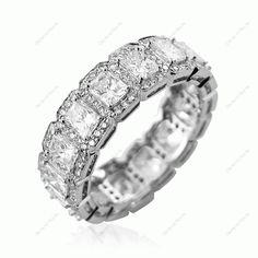 4.40Cts Diamond Brilliant & Radiant Cut Cluster Full Eternity Ring In 18K White Gold