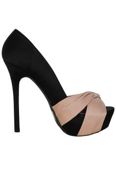 Miriam Satin Knotted Peep Toe Pump in Black/Beige    www.lilyboutique.com