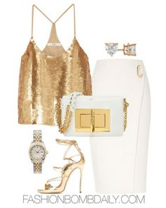 Summer 2016 Style Inspiration What to Wear to Cocktails with Claire Tibi Eclair Cami River Island Wrap Skirt Dsquared 2 Riri Sandals Tom Ford Natalia Crossbody Bag Chic Outfits, Fashion Outfits, Womens Fashion, Daily Fashion, Fashion News, Wedding Dress Patterns, Night Out Outfit, Elegant Outfit, Passion For Fashion