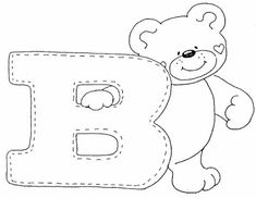 Letter B Bear Coloring pages Letter B Coloring Pages, Bear Coloring Pages, Alphabet Coloring, Printable Coloring Pages, Coloring Books, Embroidery Alphabet, Embroidery Stitches, Alphabet Templates, Alphabet And Numbers