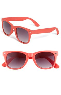 "Coral pretend Wayfarers. Mama always said ""invest in a classic color, then buy cheapy fashion shades""."