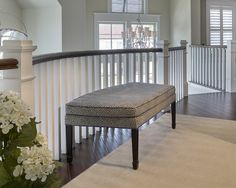 Curved Stairway Railing. Gently Curved Stairway Railing Ideas. #CurvedStairwayRailing Asher Associates Architects. Megan Gorelick Interiors