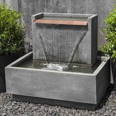 The Falling Water Fountain II is long x wide x tall. Water recirculates within the fountain. Concrete Fountains, Indoor Water Fountains, Modern Outdoor Fountains, Modern Fountain, Wall Fountains, Diy Garden Fountains, Poured Concrete, Indoor Water Features, Water Features In The Garden
