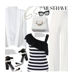 """""""Black and White Formal"""" by beebeely-look ❤ liked on Polyvore featuring Roland Mouret, stripes, blackandwhite, formal, sammydress and StreetChic"""