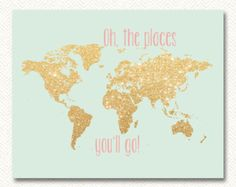 Oh the places you'll go 11x14 silver by Justabirdprintables