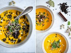 Creamy sweet potato soup with lentils Healthy Drinks, Healthy Recipes, Bouquet Garni, First Bite, Kitchenette, Allrecipes, Food Inspiration, Ham, Curry