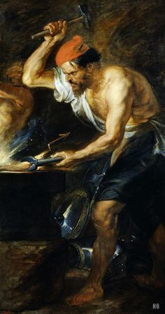 Vulcan forging Jupiter's lighting bolts by Peter Paul Rubens, oil on canvas, 1638 Peter Paul Rubens, Zeus And Hera, Son Of Zeus, Greek And Roman Mythology, Greek Gods, Classical Mythology, Caravaggio, Rembrandt, Hephaestus Symbol