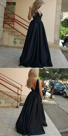 2018 black long prom dress with pockets