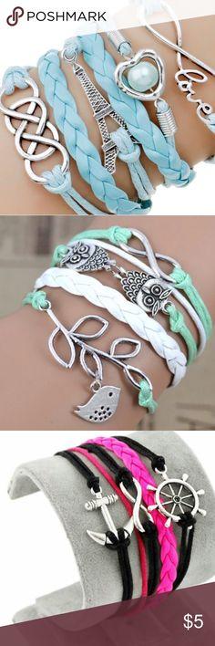 Various bracelets. $5 each. In finite bracelets in several colors. Jewelry Bracelets