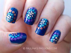 polka dots nails - shiny dots on matte background