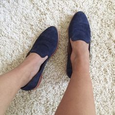 Dolce Vita Blue Suede Shoes Super chic and cute DV by Dolce Vita blue suede shoes with a faded burnt pinkish red sole. Small signs of normal wear on suede but nothing other than from normal light wear, in great preloved condition! These are the perfect staple closet piece! Dolce Vita Shoes