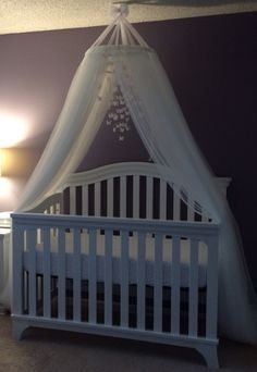 My Alexandria's lovely DIY Crib Canopy and Butterfly Chandelier%categories%nursery room Baby Bedroom, Baby Room Decor, Nursery Room, Girls Bedroom, Baby Bedding, Diy Girl Nursery Decor, Room Baby, Diy Canopy, Canopy Crib