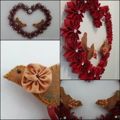 Heart wreath with birds (toilet paper roll)