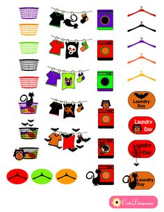 Halloween themed Planner Stickers for Laundry Day