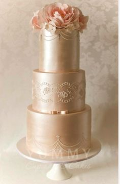 beautiful, elegant wedding cake with lace design details #wedding #cake #lace