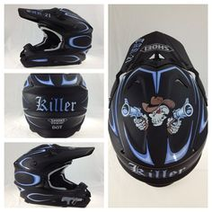 Brand new matte finish Shoei motocross helmet. Custom graphics and pinstriping applied per customer specs, using 1 Shot Lettering Enamels.