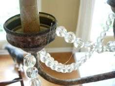 dining-room-chandy-wire-in- - All About Decoration Brass Chandelier Makeover, Old Chandelier, Lamp Makeover, Chandeliers, Floor Lamp Base, Fairy Jars, Dining Room Light Fixtures, Diy Crystals, Contemporary Chandelier