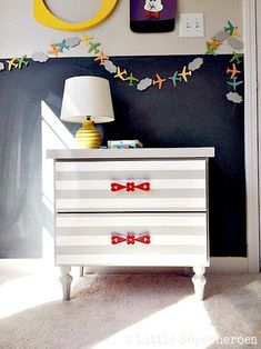how to spray paint laminate furniture, painted furniture Furniture Diy, Furniture Projects, Painting Laminate Furniture, Dressers Makeover, Furniture, Laminate Furniture, Repurposed Furniture, Striped Furniture, Nightstand Makeover