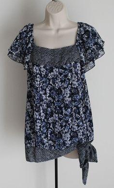 NWT Apt.9 Size M Blue Floral Boho Top Flutter Sleeve Side Tie  #Apt9 #Blouse #Casual