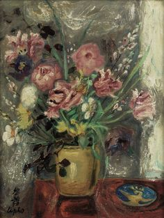 https://flic.kr/p/qcGt5m | Le Pho (1907-2001) - LES TULIPES PERROQUETS (PARROT TULIPS) - Oil on silk mounted on board, 34 x 26 cm, executed CIRCA 1950