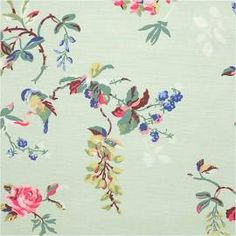 Cath Kidston Birds & Roses Mint Cotton Duck