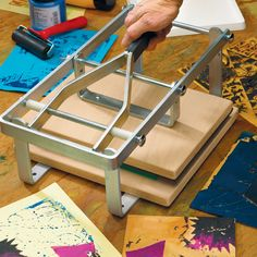 Hand Lever Block Printing Press for superb prints from lino, collagraphs and QuickPrint. Stamp Printing, Printing Press, Silk Screen Printing, Printing On Fabric, Linocut Prints, Art Prints, Block Prints, Art Graphique, Tampons