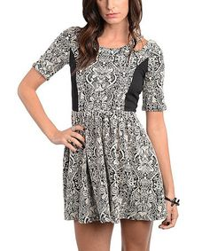 Take a look at this Black & White Abstract Color Block Dress by Buy in America on #zulily today! $17.99
