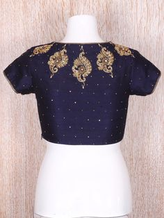 Shop Navy raw silk classy blouse online from G3fashion India. Brand - G3, Product code - G3-RB0446, Price - 4165, Color - Navy, Fabric - Silk,