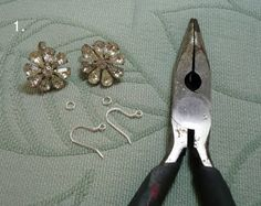 clip-on to pierced earring tutorial.  perfect for dipping into my stash of grandma's costume jewelry!
