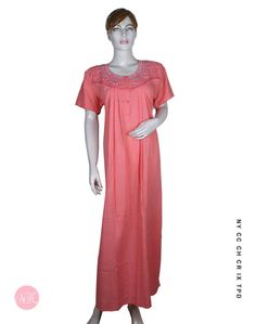 5688f92360 Neck Embroidered - Peach Nightwear  nightdress  nightwear  nighty  nighties   nightsuit  sleepwear  relaxwear Buy Designer Cotton Nighties for Women