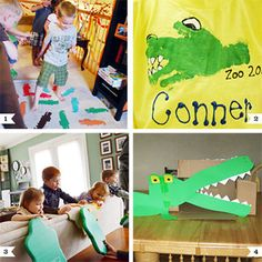 """Here are some fun games and crafts to play at an alligator party or safari party! 1. Play """"Alligator Alley"""" by laying alligator cut-outs, socks, or another sort of marker across your party room. Instruct kids to hop, skip, jump, or run across the """"infested water"""" without ..."""