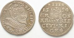 1594 Riga RIGA 3 Groschen (Trojak) 1594 GE SIGISMUND III of POLAND silver VF-XF! # 95131 VF-EF