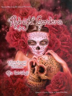Dark Fantasy Art Coloring Book with 20 Images.  A compilation of Mitzi's line art with subjects on the dark side.  See the listing for a link to a slide show of all 20 pages inside this book.