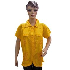 Amazon.com: Embroidered Peasant Top Cotton Blouse Shirt Yellow Women Fashion Tops Size Medium: Clothing $17.99