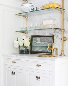 Home decor, and furnishings, curated by the designers at Studio McGee. Wet Bar Designs, Home Bar Designs, Glass Shelves Kitchen, Glass Kitchen, Bookshelf In Kitchen, Kitchen Wet Bar, Kitchen Faucets, Kitchen Ideas, Home Wet Bar