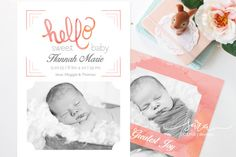 Hello Sweet Baby Watercolor Birth Announcement Template for Photographers. A darling way to welcome a new baby into the world. Double sided with static title and customizable text option. 5x7 Photographer PSD Template, Birth Announcement. Double sided design. Instant Download  Purchase this listing to receive a digital file version of a Sara Corine Design. DETAILS:  :: Layered PSD (Photoshop) files (need photoshop or photoshop elements to edit) :: Text is editable and are all free fonts…