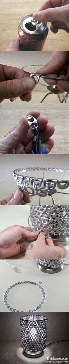 Idea! Come fare una lampada riciclando le linguette delle lattine...