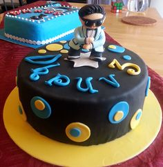 gangnam style cake with figurine topper