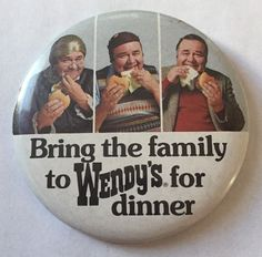 Wendy's Fast Food Vintage Pin Round Metal White Black SB3A Where/'s The Beef
