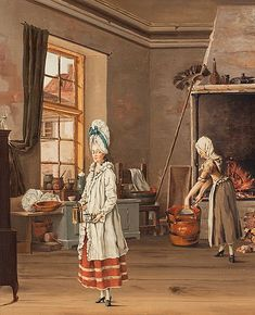 The woman in the foreground appears to be holding a CP.Gustavian kitchen scene, attributed to swedish artist Johan Rodin 18th Century Clothing, 18th Century Fashion, Napoleon, Art Ancien, Rodin, Old Master, Working Woman, Historical Clothing, Kitchen Interior