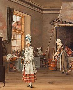 Gustavian kitchen scene, attributed to swedish artist Johan Rodin (1755-1783)