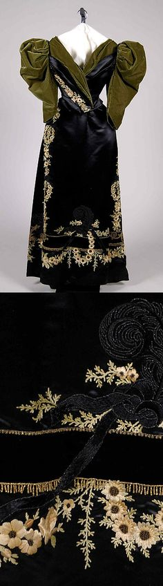 Evening dress Design House: Rouff (French, 1844–1914) Date: ca. 1895 Culture: French Medium: Silk Brooklyn Museum Costume Collection at The Metropolitan Museum of Art