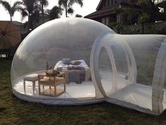 Sleep under the stars which still keeping warm and cozy inside this awesome bubble tent! This super-stylish inflatable tent is perfect for enjoying sights such as the beach or mountain views. Or you could set it up in your backyard for some family fun with the kids!