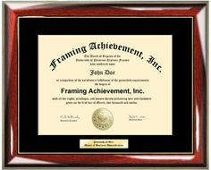 Personalized Gold or Silver Engraved Plate University Diploma Frame  Glossy Prestige Mahogany with Gold Accents College Diploma Frame  Single Black Mat  Engraved Certificate Frame -- Click image to review more details.