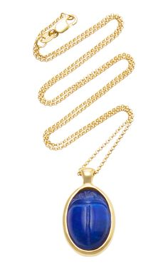 PAMELA LOVE ONE OF A KIND 18K GOLD AND LAPIS SCARAB NECKLACE. #pamelalove