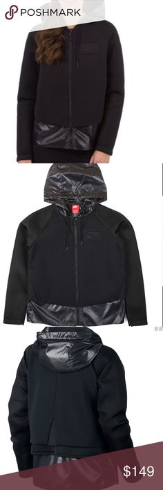 Nike black hooded jacket Sz lg NWT Black mixed media hooded jacket NWT Nike Jackets & Coats
