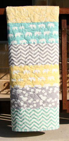 Gender Neutral Quilt, Organic Birch Fabrics, Yellow Aqua Pool Teal Blue Grey, Pool Sun Shroom, Chevron Elephant, Boy or Girl op Etsy, 111,29€